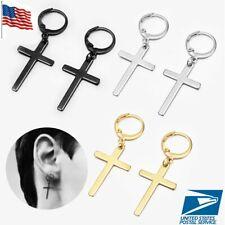 2pc Men Women Stainless Steel Slim Cross Drop Dangle Huggie Hinged Hoop Earrings