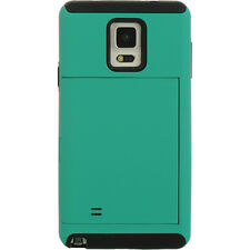 For Samsung Galaxy Note 4 Hybrid Stand Credit Card Case Cover Green on