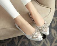 Elegant women's rhinestone flat heel lady evening dress party wedding shoes size