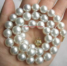 """BIG AAA++ 17""""13-14mm REAL NATURAL round south sea WHITE pearl necklace 14K GOLD"""