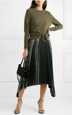 Altuzarra Metallic Grey Asymmetric Pleated Skirt Size 42 - 6 Freya Midi Metallic