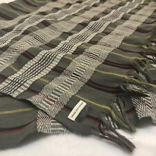 Dries Van Noten Large Grey/Red/Black/Yellow Striped Wool Scarf/Shawl/Wrap 30x70