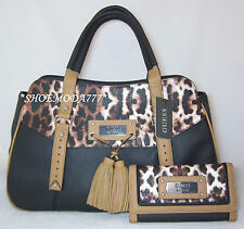 GUESS Virginia Beach Satchel Bag Purse Wallet Set Black Red Cream Leopard Tassel