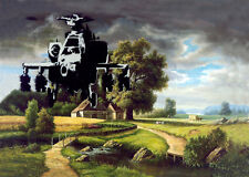 Banksy graffiti Street Art Chopper over Farm premium 16 x 20 Canvas Print Venne