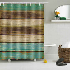 Retro Rustic Wood Planks Waterproof Fabric Shower Curtain Hooks Bath Set 72x72""