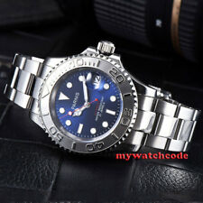 41mm PARNIS blue dial Ceramic bezel 21 jewels Mechanical automatic mens watch