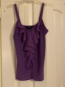 NWT White House Black Market Spaghetti Strap Purple Blouse w/Flounce Ruffle, SzS