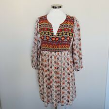 Umgee Size Large Boho Hippie Long Shirt Short Dress 3/4 Length Sleeve Top