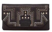 Liebeskind Berlin Slam Women's Studded Leather Flap Wallet Clutch Purse Black
