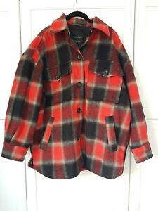 Pull&Bear Tartan Jacket Red and Black Size L