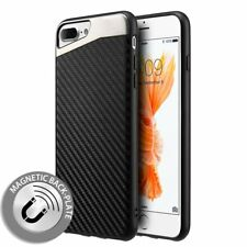 iPhone 7 / iPhone 8 Magnetic Back-Plate Carbon Fiber TPU Rubber Case Black