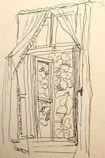 Vintage impressionist ink painting landscape window