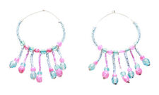 Pink Beads/fringed Hoop Earrings(Zx204) Alluring & Romantic-translucent Blue &