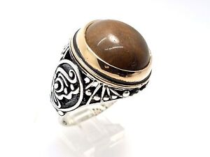925 STERLING SILVER BRONZE HANDMADE TURKISH OTTOMAN BROWN AGATE RING SIZE 11.25