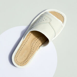 Womens Ladies Slippers Sandals Home Shoes Natural Leather Kapcie ALL SIZES