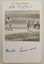 HAROLD LARWOOD SIGNED 15 X 10 CMS approx AUTOGRAPH CARD ENGLAND CRICKET BODYLINE
