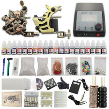 Complete Starter Tattoo Kit 2 Machine Guns Set Power Supply 20 Inks Needles DJ28