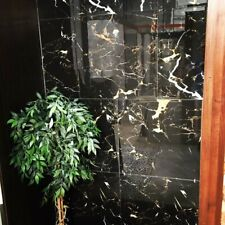 Black Marble Effect Porcelain 60x60 Gold And White Veins Rectified