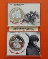 2 coins 5000 PESETAS SAHARAUIS 1996 SILVER WESTERN SAHARA 1 OZ Republica PP SET