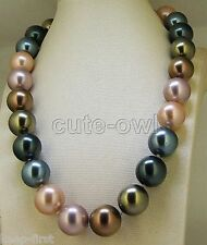 Fashion 12mm colorful genuine South Sea shell Pearl Necklace Handmade Knotted