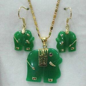 Charming! Natural 14KGP Green Jade Elephant Pendant Necklace Earring Set