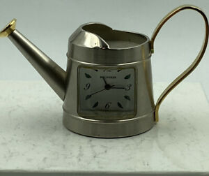 """Bucherer Watering Can Clock Hand Painted Silver and Gold 1 1/2"""" Quartz Movement"""