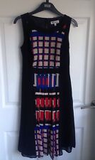 Ladies Black And Coloured Checked Debenhams The Collection Dress - Size 8 Petite