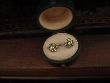 Vintage Peridot Green & Clear Crystal Flower Gold Plated Stud Earrings 7mm