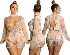 Abito tuta nudo scollo Trasparente Pailettes Ballo Party Sequin Romper dress S