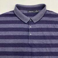 Claiborne Polo Shirt Men's 2XL XXL Short Sleeve Navy Gray Striped Cotton Blend