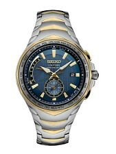 New Seiko Coutura Radio Sync Solar World Time Two Tone Steel Mens Watch SSG020
