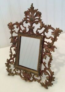 Vintage 19th cent Victorian Bronze Gilt Cast Iron Easel Back Photo Frame NB & IW