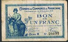 LA FRANCE JOURNAL local argent chambre de commerce de Narbonne 1 franc 1919