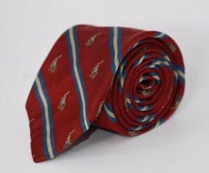 * Polo Ralph Lauren * Red W/ Gold & Blue Striped W/ Polo Logo All Silk Necktie