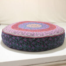 "35"" INDIAN MANDALA ROUND GYPSY TAPESTRY FLOOR CUSHION PILLOW POUF COVER Bohemian"