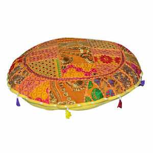 Ottoman Floor Cushion Cover Indian Meditation Mandala Round Case Pouf Pillow