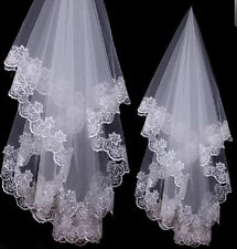 White/Ivory Bridal Veils Sequined Beaded Soft Tulle Short Wedding Veils