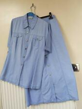 BASLER Ladies Pale Blue Shirt/Blouse & Button Front SKIRT SET - Size 18 (46)