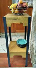Tavolino in ferro e legno stile rustico/industrial da salotto/cucina