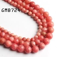 Natural Rhodochrosite Round Stone Beads Jewelry Making 15'' Strand 6/8/10mm