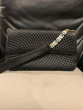 Authentic BALLY Logos Chain Black Quilted Leather Shoulder Bag