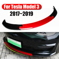 Gloss Black + Red Front Bumper Lip Spoiler For Tesla Model 3 Sedan 2017-2019