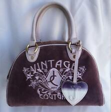 JUICY COUTURE Vtg Velour Bowler/Bowling Pink/Purple Satchel Handbag Bag jc rare