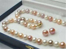 Beautiful 7-7.5mm Natural Multicolor Akoya Pearl Necklace Earrings Set 18''