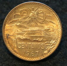 1967 Mexican 20 Centavos in Brilliant Uncirculated Condition EXTREMELY NICE!