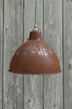Rusty steel vintage style barn lamp workshop ceiling light shade RS1SR4