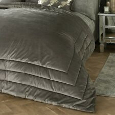 Chic Slate Grey Luxury Soft Velvet Quilted Bedspread Throwover Bed Throw New