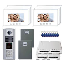 """Building Access Door Entry Video Intercom System Kit with (8) 7"""" Color Monitors"""
