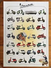 THE HISTORY OF VESPA  BY PIAGGIO,RARE AUTHENTIC 1999 POSTER