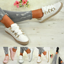 LADIES WOMENS GLITTER SNEAKERS SPARKLE TRAINERS LACE UP PLIMSOLL PUMPS SHOES